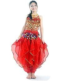 Pilot-trade Lady's Belly Dance Costume Set Top & Tribal Gold Wavy Harem Pants Skirt