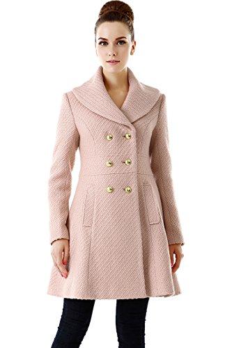 BGSD Women's Wool Blend Shawl Collar Walking Coat, Blush Pink, X-Large