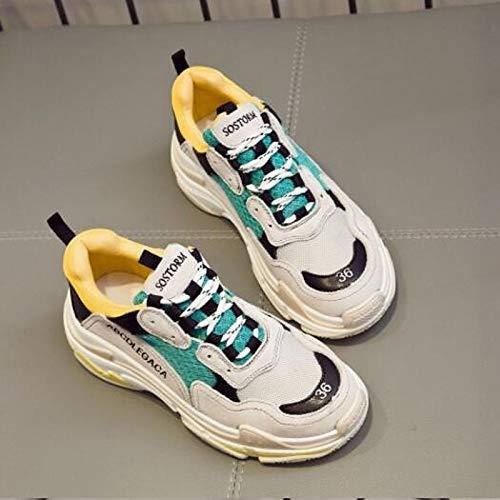 Suede Sneakers Blanca Flat Summer Negra Amarilla Zapatos con Leather de Punta White Comfort Heel ZHZNVX Cerrado Mujer Spring Nappa q4BSBwx
