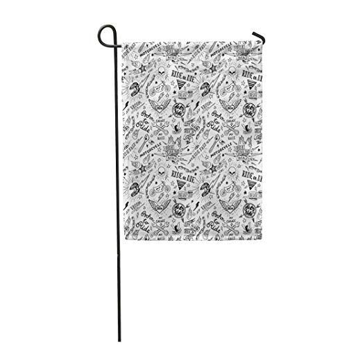 """Semtomn 28""""x 40"""" Garden Flag Motorcycle Vintage Traditional Tattoo Biker Pattern Hand Home Outdoor Decor Double Sided Waterproof Yard Flags Banner for Party"""