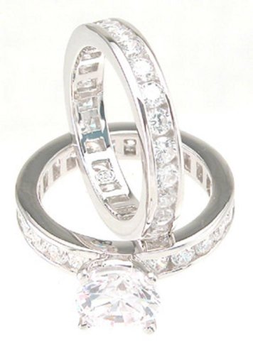 Solitaire White CZ Wedding Band Engagement Ring Set in 925 Sterling Silver Size 7 ()