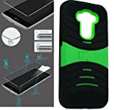 [ NP ARMOR ] Premium Tempered Glass Screen Protector + uBLACK/Green Phone Case for LG G Stylo/Stylus / LS770 / H631