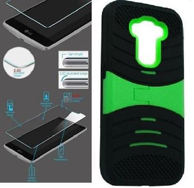 [ NP ARMOR ] Premium Tempered GLASS Screen Protector + uBLACK/GREEN Phone Case For LG G Stylo / Stylus / LS770 / H631