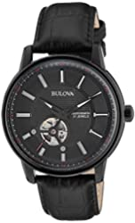Bulova Men's 98A139 21 Jewel Automatic Stainless Steel Watch With Black Leather Band