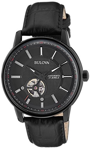 Bulova Men's 98A139 21 Jewel Automatic Stainless Steel Watch With Black Leather - Jewel 21 Automatic