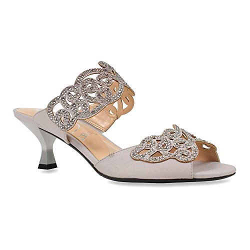 J. Renee Women's Francie Dress Slide,Silver Satin/Rhinestones,US 8 W - Stiletto Heel Satin Top