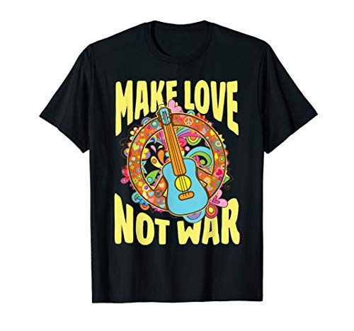 Make Love Not War T-Shirt Groovy 60's 70's Hippie Art ()
