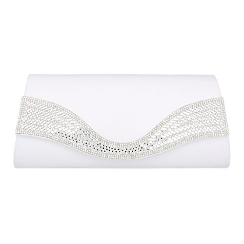 Magnetic Trapezoid Exquisite Damara Clasp PU Bag Evening Womens White 7gTqRYw