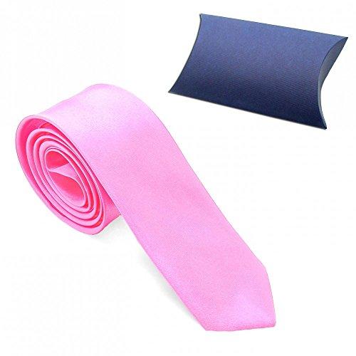 1 Cravatta Corbata Corbatas Tie Moderna 23 Modelos Mirada Seda Hombre Delgado Poliéster Traje Carnaval Negro Blanco Azul rosa + Etui / rosa + giftbox