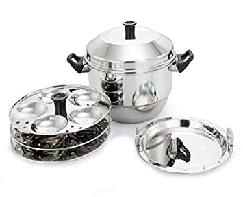 044fc0ff662 Image Unavailable. Image not available for. Colour  Alisha Induction Base Stainless  Idli Pot   Idli Steamer With 3 Idly Plates And 1 Steamer