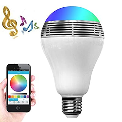 Smart LED Light Bulb Bluetooth Speaker Valentines Day Gift, ZONV 3W E27/E26 RGB Changing Lamp Wireless Stereo Audio Smartphone Controlled Dimmable Multicolored Color Changing Lights for iPhone Android