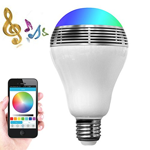Smart LED Light Bulb Bluetooth Speaker Valentine's Day Gift,ZONV 3W E27/E26 RGB Changing Lamp Wireless Stereo Audio Smartphone Controlled Dimmable Multicolored Color Changing Lights for iPhone Android
