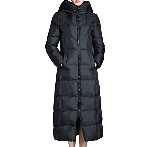 GWELL Thickened Hooded Down Coats for Women Outdoor Puffer Long Down Jacket,Black,L