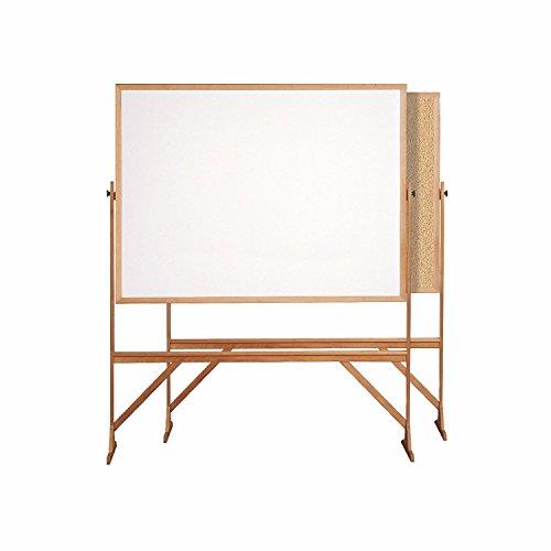 Snap Frame Markerboard (Ghent 3' x 4' Wood Frame Mobile Reversible Free Standing Melamine Markerboard / Natural Corkboard)