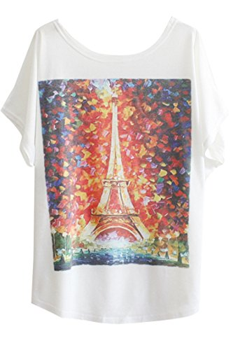 Pink Queen Women's Colorful Eiffel Tower Print Blouse Shirts