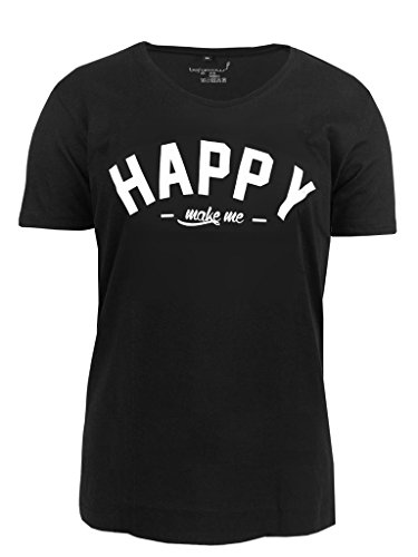 Be Famous Scooped Neck Happy T-Shirt black