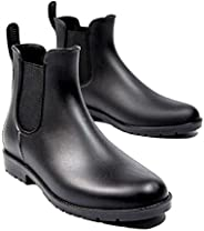 Women's Short Rain Boots Fashion Elastic Chelsea Booties Waterproof Anti Slip On Ankle Rain Boo