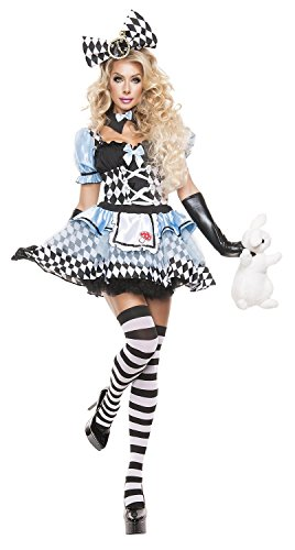 American Trend Women's Halloween Psychedelic Alice Cosplay Costume Set L Blue