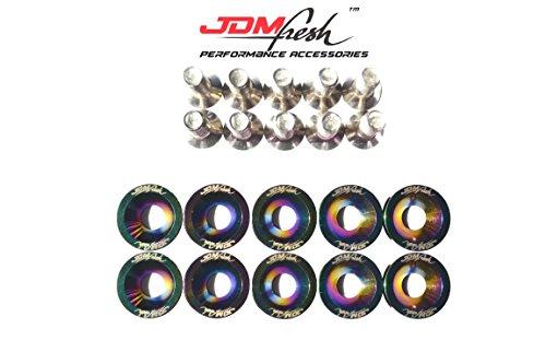 JDMFresh - CNC Billet Aluminum Engine Bay Fender Washer Bolt Dress Up Kit For 8mm (Neo Chrome)