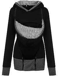 b4e9bc8004f Livoty Women Maternity Baby Pouch Carrier Kangaroo Pregnancy Striped Zip Up  Hoodie Sweatshirt Coat Jacket
