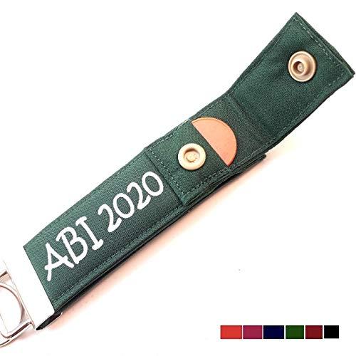 PERSONALISIERTER Schlüsselanhänger zum ABI 2020 Abitur Geschenke mit Namen Schlüsselband mit Einkaufschip, 1 Stück