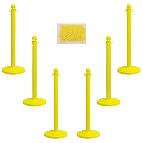 Mr. Chain 71102-6 Yellow Plastic Stanchion Kit with 50' of 2