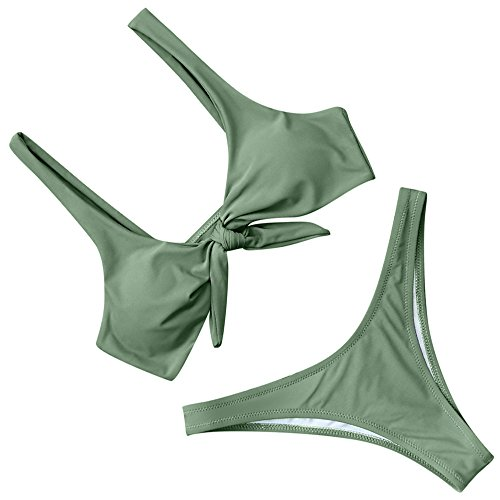 RUUHEE Women Bow Knot Solid Color V Style Bottom 2 Piece Bikini Swimsuits (L(US Size 6-8), Army Green)