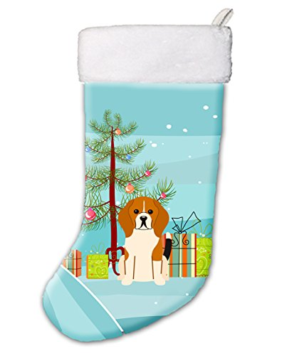 Caroline's Treasures BB4165CS Merry Christmas Tree Beagle Tricolor Stocking,Multicolor,Large