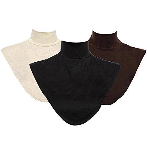 (kilofly 3pc Women's Faux Turtleneck Half Top Mock Blouse Dickey Collar Value Set)