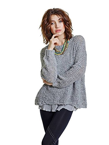 (Ronateed Women's Fashion Long Sleeves Stretchy Wool Sweater Gray/pewter Medium)