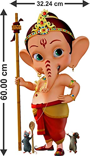 Creative 3D My Friend Ganesha,Bal Ganesha Attractive Wall Sticker for Living Kids Room (60 cm X...