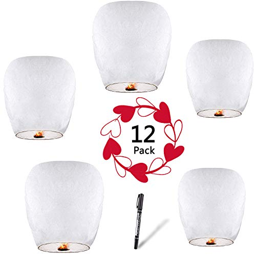 Halloween Chinese Sky Lanterns (Chinese Lanterns & Sky Lanterns (12-Pack) + Marker Pen ECO Friendly 100% Biodegradable - Beautiful Lantern for White for Weddings, Birthdays, Memorials and Much More by)