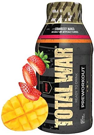 Redcon1 – Total War RTD – Ready to Drink Liquid Preworkout – Case of 12 – Amazing Flavors, Clean Energy, Caffeine, Beta Alanine, Increased Energy, Increased Focus, Increased Stamina Strawberry Mango