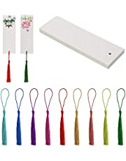 Silky Tassel & Bookmarks Penta Angel 25pcs Blank Kraft Paper Gift Tags Cardstock Bookmarks with Hole and 25Pcs Color Handmade Tassels Pendant with Loop for Craft DIY(White, 5.5x2inch)