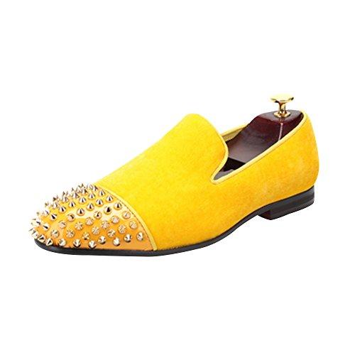 OCHENTA Handmade Men Zapatos de Terciopelo con Remache de Cuero de Los Hombres de Moda Mocasines EU 38-47 Amarillo dorado