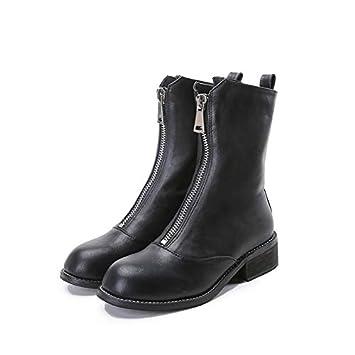 Shukun Botines Botines Cremallera Frontal Botas de Cabeza Redonda Tubo Blanco Grueso con otoño e Invierno Zapatos de Mujer Botas Suaves 8: Amazon.es: ...