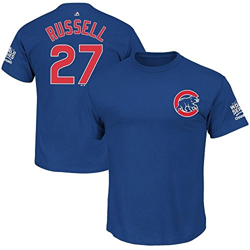 Majestic Addison Russell Chicago Cubs Youth World Series Champions Blue Name and Number T-Shirt 14-16