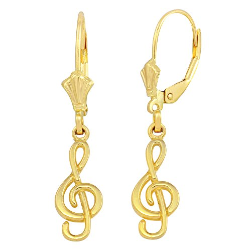 Fine 14k Yellow Gold Treble G Clef Music Note Dangle Earrings