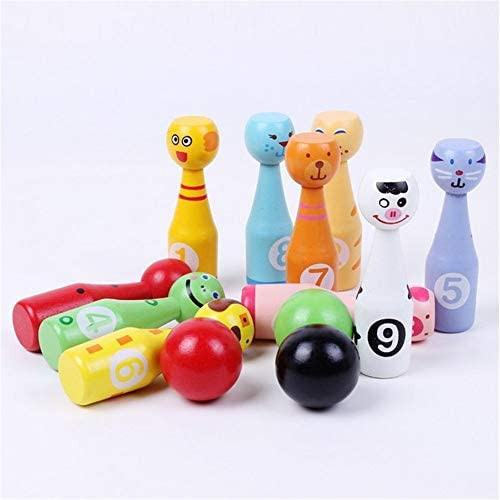 Jianghuayunchuanri Tiere aus Holz Bowling Set Bunte Skittles
