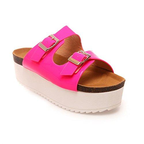 La Modeuse-zapatillas, diseño de laca de uñas con una gran superficie, color blanco Rosa - Fuchsia