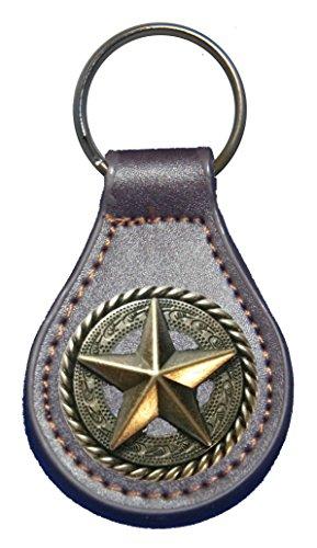 Fancy Garland Star leather key fob or key chain - Leather Keychain Concho