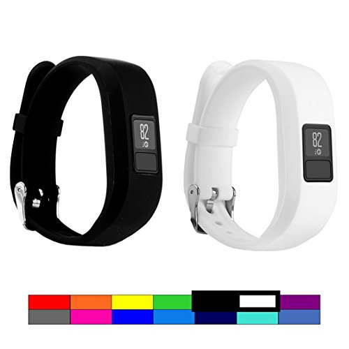 For Garmin Vivofit 3 and Vivofit JR, Dunfire Colorful Accessory Band/ Wristbands With Secure Watch-style Clasp For Garmin Vivofit 3 and Vivofit JR (2PCS - BLACK & - Usps Tracking With Options Shipping