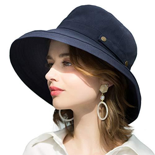 SOMALER Womens Cotton Wide Brim Sun Hats UPF50 UV Packable Beach Hat Summer Bucket Cap for Travel ()