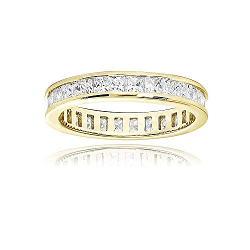 Yellow Gold Flashed Sterling Silver Cubic Zirconia Princess-Cut 2mm Channel Set Polished Eternity Band Ring, Size ()