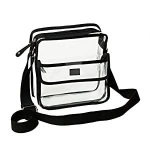 Amazon.com : Deluxe Clear Cross-Body Messenger Shoulder Bag ...