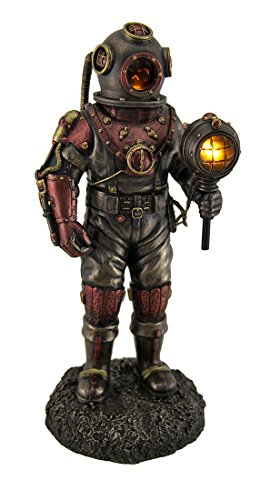 (Resin Statues Lighted Steampunk Skeleton In Diving Suit Statue 4.5 X 10.5 X 4 Inches Bronze)