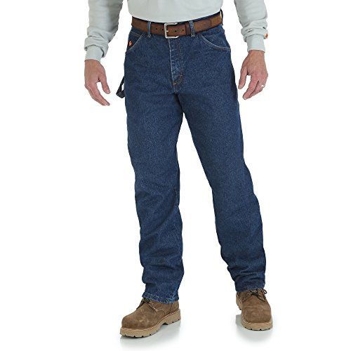Smith Short Denim Pant - Wrangler Men's Riggs Workwear Flame Resistant Carpenter Jean, Denim, 30x34