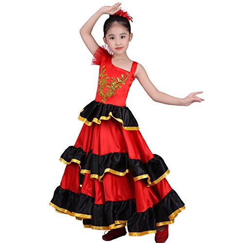 DREAMOWL Red Spanish Flamenco Dance Ballet Dress Costume for 4-12 Years Girl Attach Headflower (720 Degree, -