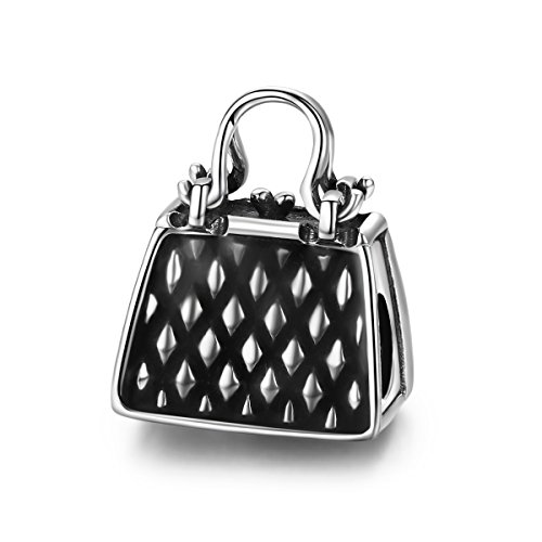 Soulove Lady Handbag Black Enamel 925 Sterling Silver Bead for Snake Chain Charm ()