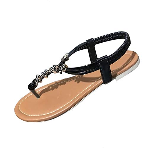 (✔ Hypothesis_X ☎ Women's Wedding Sandals Rhinestone Beaded Bohemian Dress Summer Flip-Flop Gladiator Shoes Black)